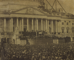 Inauguration of Abraham Lincoln, March 4, 1861, salt print, by Alexander Gardner, American 1821-1882. Courtesy Bowdoin College Museum of Art.