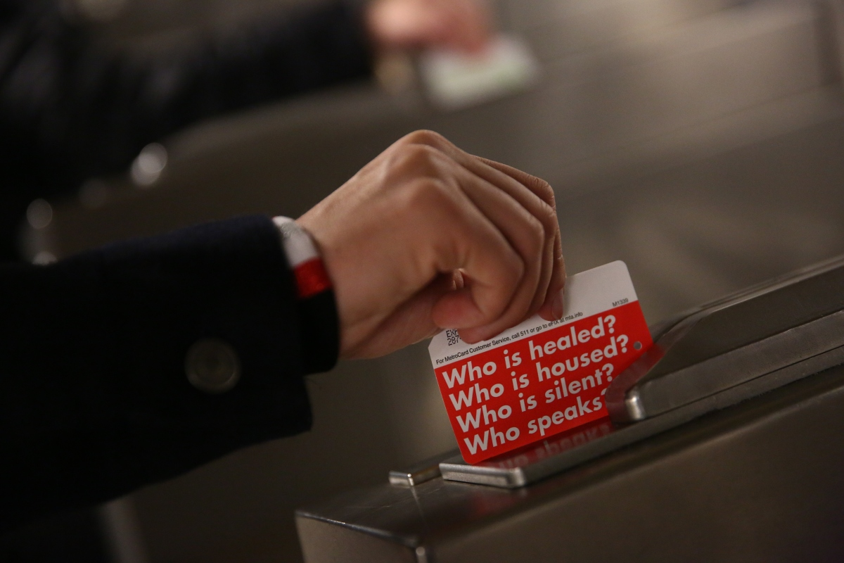 Limited Edition MetroCards designed by Barbara Kruger Hit NYC Turnstiles
