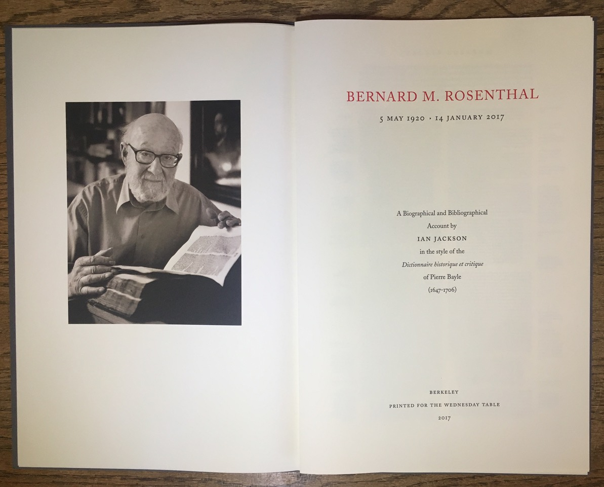 New Biography on Bernard Rosenthal Makes the Case for Close Reading
