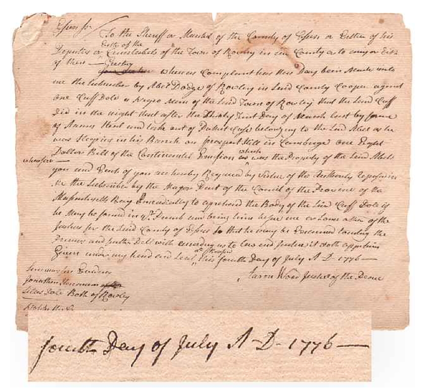 July 4, 1776 Arrest Warrant Heads to Auction